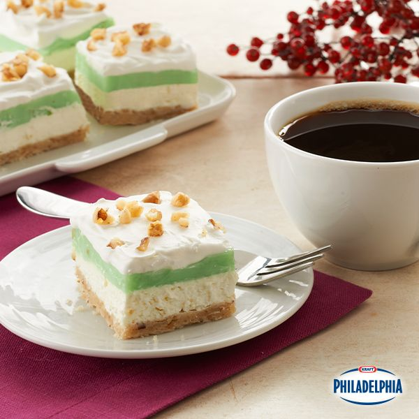 For a treat that's a little nutty, in the good sense, this Pistachio Layered Dessert with pistachio Jell-O pudding and fresh walnuts hits the spot.