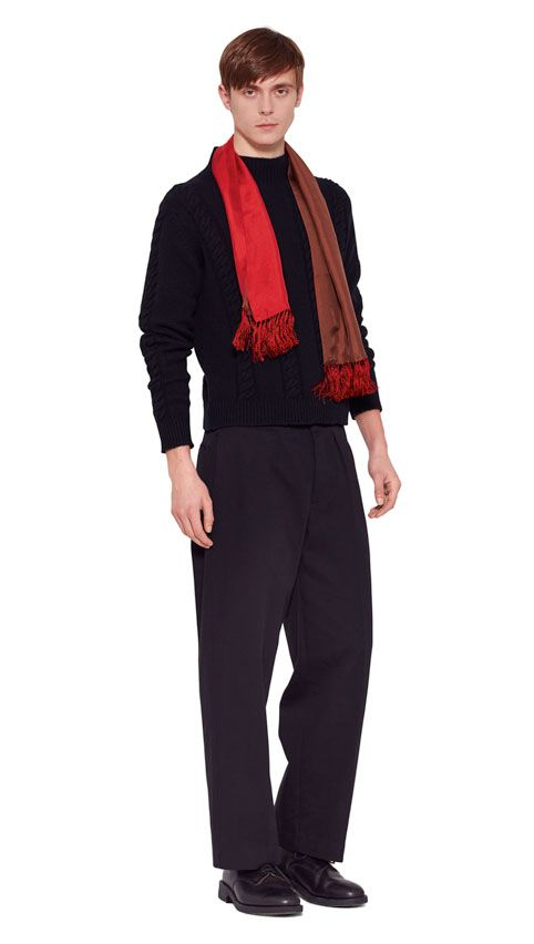 AUTUMN WINTER 2016 COLLECTION -   BLACK LAMBSWOOL CABLE SWEATER,  RED/BROWN SILK TWILL TWO COLOUR TASSEL SCARF,  BLACK RAISED COTTON DRILL 50'S CHINO,  BLACK MATT LEATHER CREPE SOLE DERBY