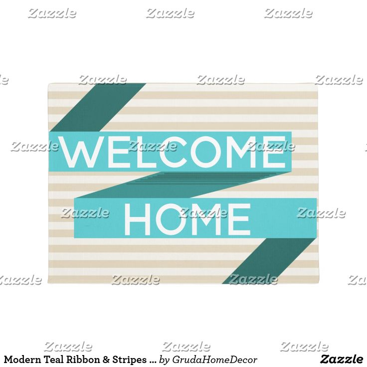 Modern Teal Ribbon & Stripes Welcome Home Doormat