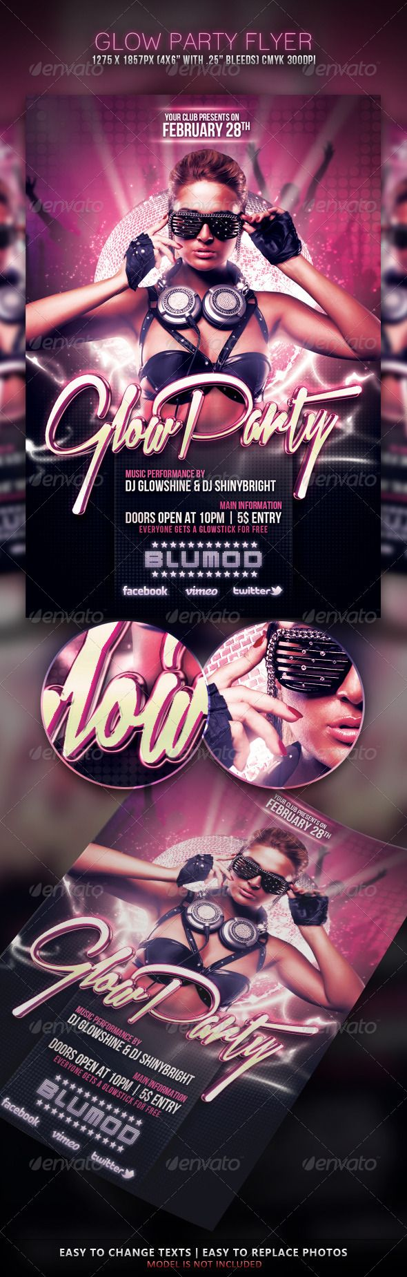 Glow Party Flyer — Photoshop PSD #bright #night • Available here → https://graphicriver.net/item/glow-party-flyer/3930752?ref=pxcr