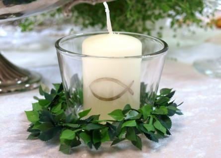 6er Set: Kerze Votivglas Kerzenring Fisch Gold Kommunion Taufe Konfirmation Tischdeko Kerzendeko - Vorschau 1