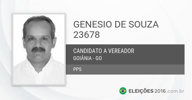 Genesio de Souza 23678 é candidato a Vereador de  Goiânia - GO pelo PPS nas Eleições Municipais de 2016