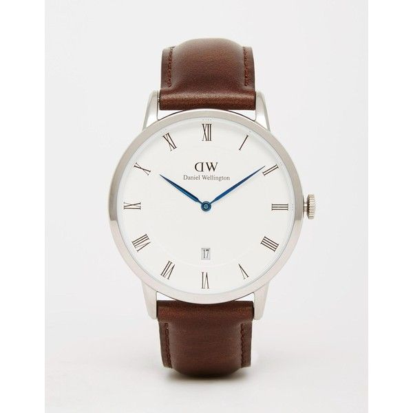 Daniel Wellington Dapper 38mm Watch In Silver ($355) ❤ liked on Polyvore featuring men's fashion, men's jewelry, men's watches, brown, mens roman numeral watches, mens brown leather strap watches, mens leather strap watches, mens silver watches and mens brown leather watches