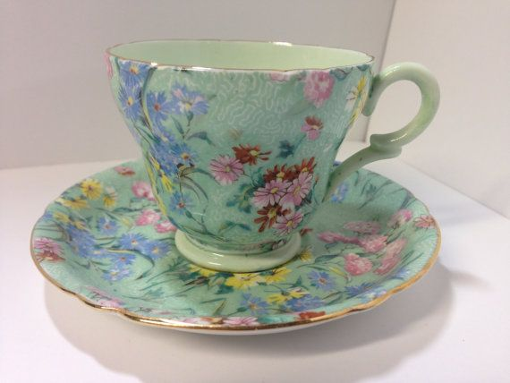 Shelley 'Melody' Chintz Bone China Demitasse Tea Cup and Saucer