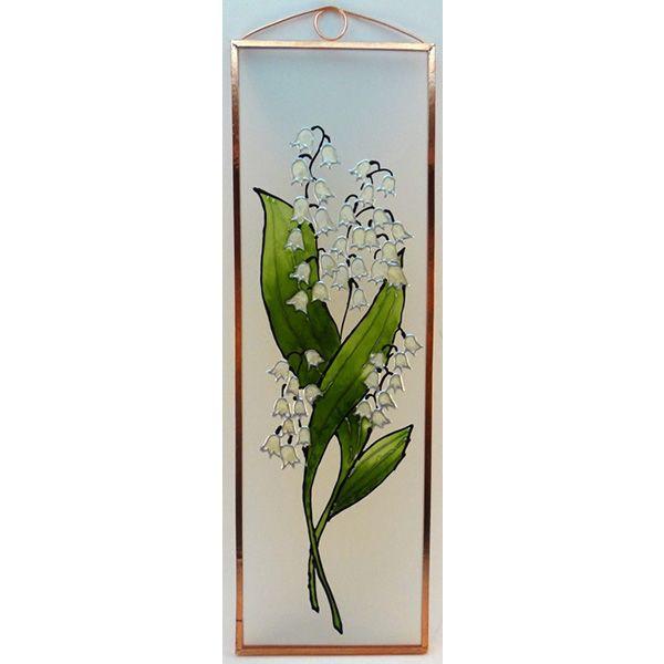 Gyöngyvirág Grafika: Navratil Zsuzsa üvegre kivitelezte: Kőrösi Andrea Mérete: 7,5 cm x 23,5 cm
