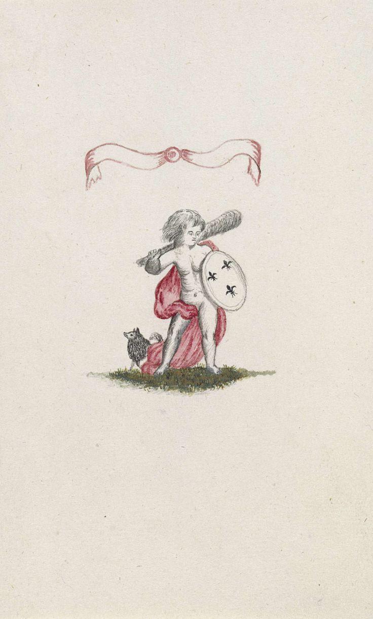Vignet met keeshond en roze strik 1795 anoniem 1795