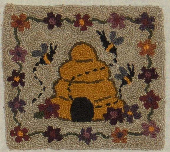 Primitive Folk Art Punchneedle Pattern All A Buzz From Fairfield Road Designs Beehive Fl