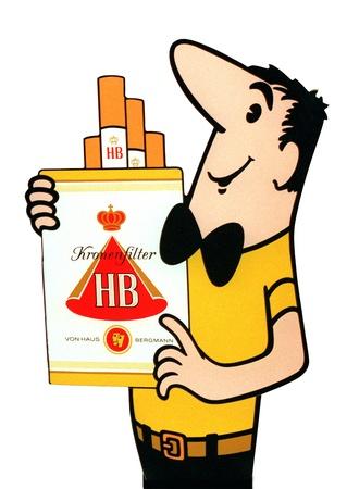 """HB Zigaretten. Werbesprüche der 60er """"Halt, wer wird denn gleich an die Decke gehen? Greife lieber zur HB; dann geht alles wie von selbst!"""""""