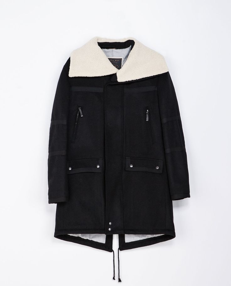 Zara COAT WITH CONTRASTING COLLAR  Ref. 2223/302  269.00 CAD               OUTER SHELL  BODY: 46% WOOL, 28% POLYAMIDE, 18% POLYESTER, 8% OTHER FIBRES  COLLAR: 55% POLYESTER, 45% ACRYLIC  LINING  BODY LINING: 66% COTTON, 34% POLYESTER  SLEEVE LINING: 64% VISCOSE, 36% POLYESTER  FILLING  100% POLYESTER