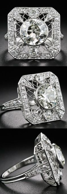 This rare, radiant and remarkable antique jewel - circa 1915-1920, 2.20 Carat Edwardian Diamond Ring, This early-nineteenth century Edwardian knockout shines front and center with a super-scintillating European-cut diamond, weighing 2.20 carats. *