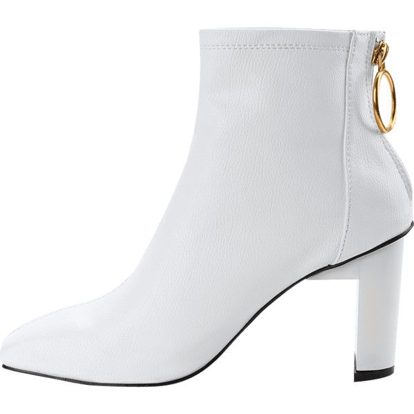 32eb22b5458 White 38 High Heel Square Toe Short Boots ($24) ❤ liked on Polyvore ...