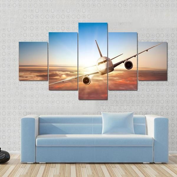 Commercial Airplane Flying Above Clouds In Dramatic Sunset Light Canvas Wallart Airplanewallart Catalog Airpl Airplane Wall Art Canvas Wall Art Big Wall Art