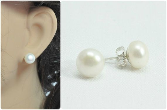 Real Pearl Earrings Pearl Stud Earrings by Amanda Badgley Designs | A Bridal Jewelry Boutique {Bride + Bridesmaid Jewelry}
