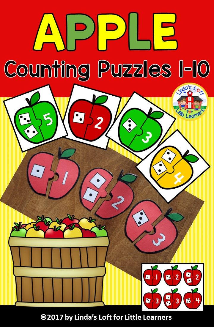 Help your early learners practice counting and number recognition skills with these apple-shaped number puzzles. Great for centers, quiet-time, or busy bag activities.