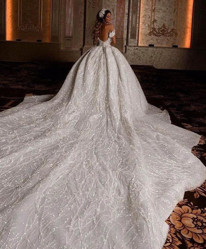 Off Shoulder Size 12 Beaded /& Sequins Long Sleeve Details about  /Wedding Dress Long Train