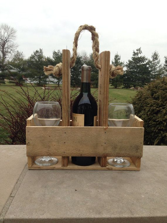 Handmade Wood Pallet Wine Bottle & Glass Carrier by CraftilySweet