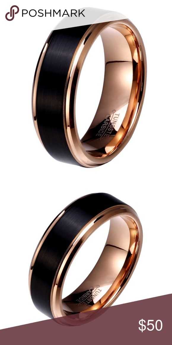 8MM Rose Gold Black Tungsten Carbide Ring Brand new No trades  Sizes are below  Material: Tungsten Carbide Band Width: 8MM Fit: Comfort Finish: Brushed Color: Black/Rose Gold  Tungsten is two times tougher than steel and twice the density of steel. It will not rust, tarnish or turn your finger green. Ring features black brushed outside and polished rose gold inside and lining of the ring.                                       ~Ring box included ~ Accessories Jewelry