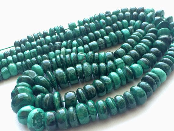 Malachite Beads Malachite Plain Rondelle Beads by gemsforjewels