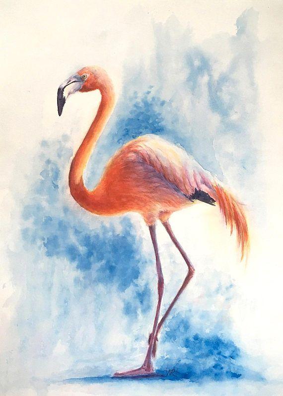 Flamingo original watercolour painting. Bird art painting of