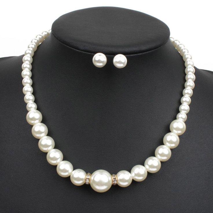 Prom Women Wedding Bridal Jewelry Rhinestone Pearl Crystal Necklace Earrings Set #unbrand