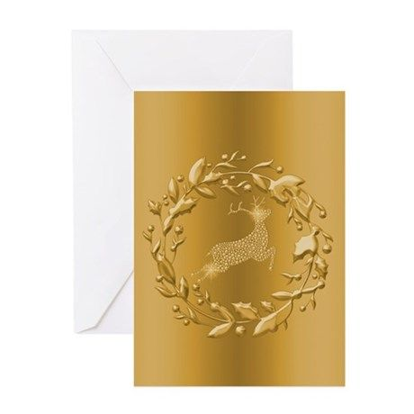 Gold Reindeer Christmas Greeting Cards on CafePress.com