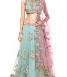 Buy multicolor net embroidered unstitched bridal-lehengas bridal-lehenga online