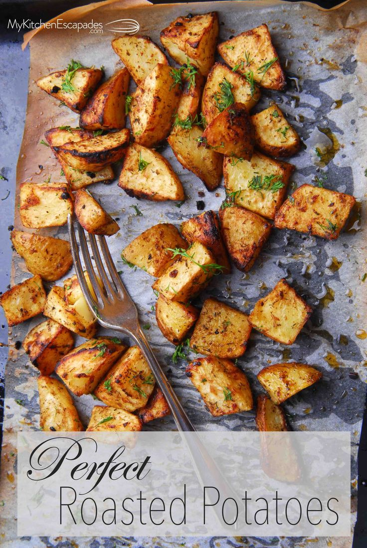 Oven roasted potatoes loaded with garlic and herbs, then turn out crispy and delicious. Easy recipe idea for the holidays and healthy alternative to fries!