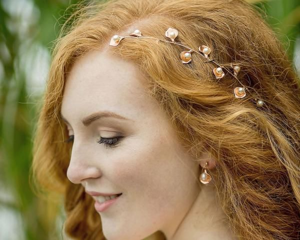 Wedding Hair Combs - Rose Gold Handmade Rustic Style Leaf & Pearl Hair Vine, Forest Rose