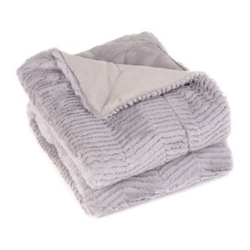 Silver Lilac Faux Fur Chevron Throw Blanket | Kirkland's