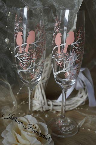 Luna . Exclusive hand-painted wedding cups by Juliana Hamajdak. www.malovaneumenie.sk