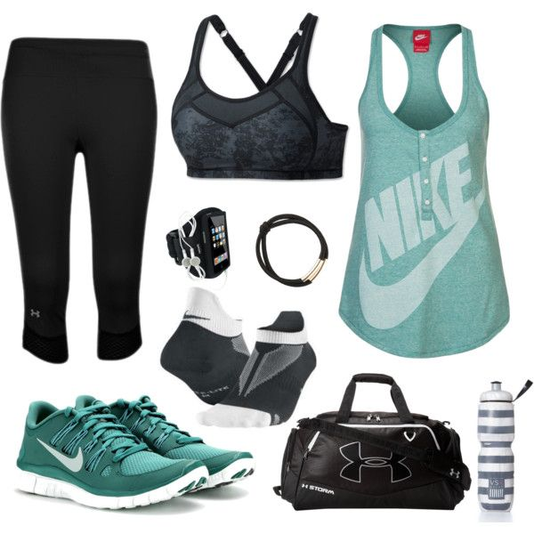 """""""minty fresh and dark"""" workout clothes set on Polyvore"""