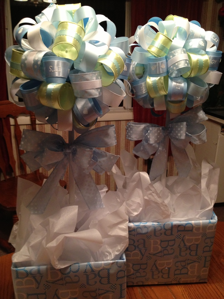 Blue green white ribbon topiary trees for baby shower