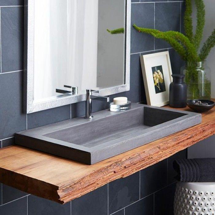 evier salle de bain, comptoir en bois brut et evier granit noir