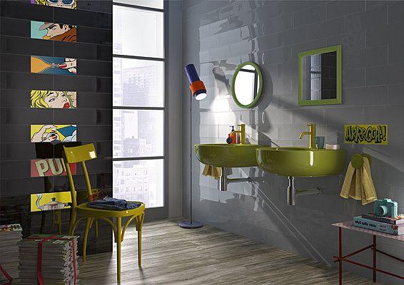 Imola Ceramica Pop Pop (IMOLA CERAMICA)-IMOLA CERAMICA-1 , Ванная, Общественные помещения, стиль Авангард, Фактура под кирпич, Керамика, универсальная, Глянцевая, Неректифицированный, Разнотон V1