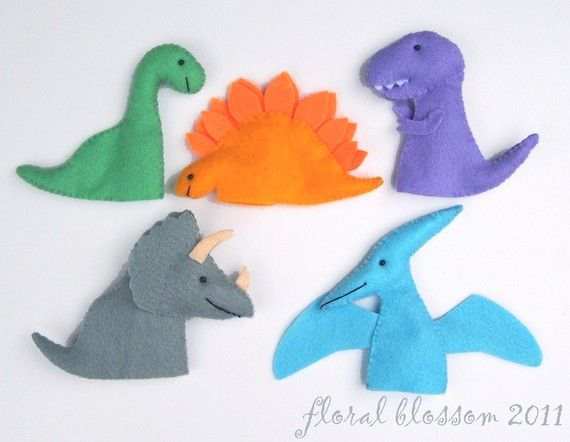 PDF Pattern: Prehistoric Friends Felt Finger Puppets. $5.00, via Etsy.