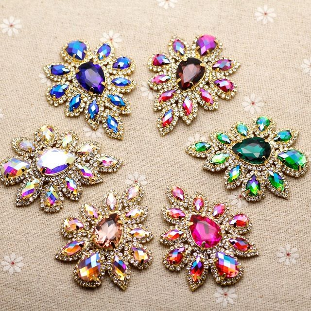 Lucky Deal $6.36, Buy 5.8*4.5cm Glass+resin Colorful rhinestone applique Gold Base Belt Applique Sew on Rhinestone For Party Wedding Dress Decoration