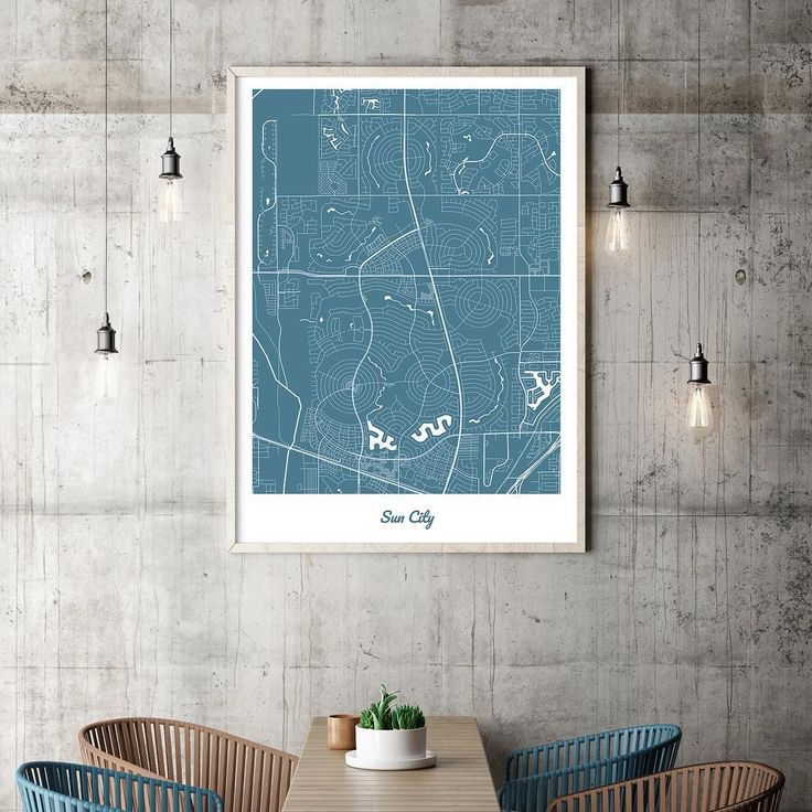 Beautiful, geometric map poster of  Sun City. Sans / White / 70x100cm.