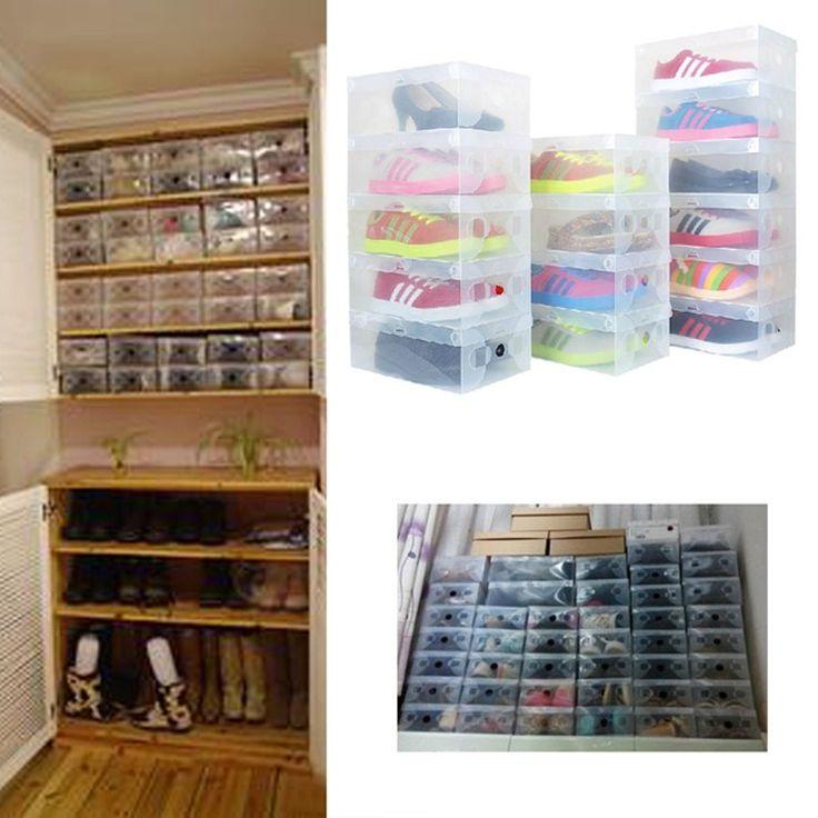 Wholesale US $12.99  High Quality 10pcs/lot Foldable Plastic Shoe Storage Case Boxes bag Stackable Organizer Shoe Holder Easy DIY  #High #Quality #pcs-lot #Foldable #Plastic #Shoe #Storage #Case #Boxes #Stackable #Organizer #Holder #Easy