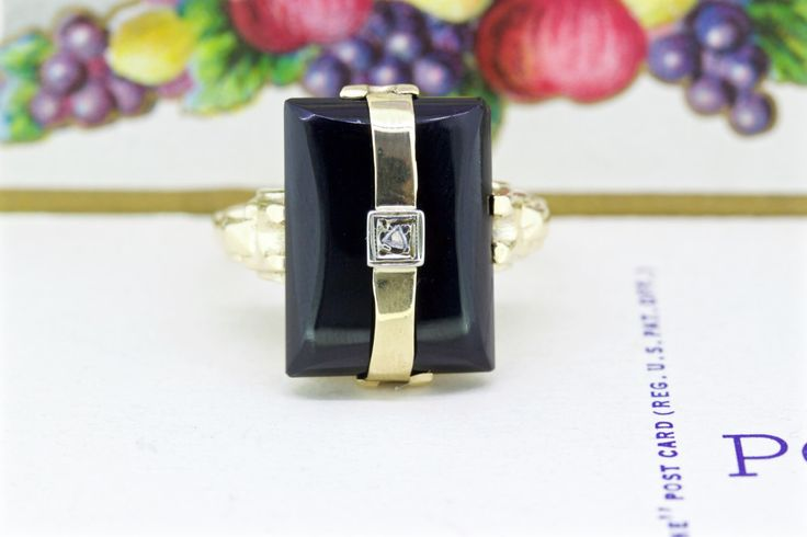 Antique Black Onyx Ring   Yellow Gold Art Deco Ring   Onyx Engagement Ring   1920s Diamond Cocktail Ring   Sugarloaf Gemstone Ring   Size 7 by FergusonsFineJewelry on Etsy https://www.etsy.com/listing/229725048/antique-black-onyx-ring-yellow-gold-art