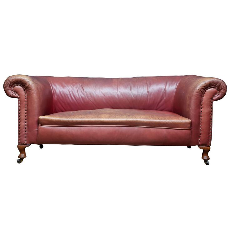 Victorian Red Leather Sofa