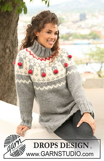 "Ravelry: 122-1 Jumper with raglan sleeves and reindeer pattern on yoke in ""Eskimo"" pattern by DROPS design"
