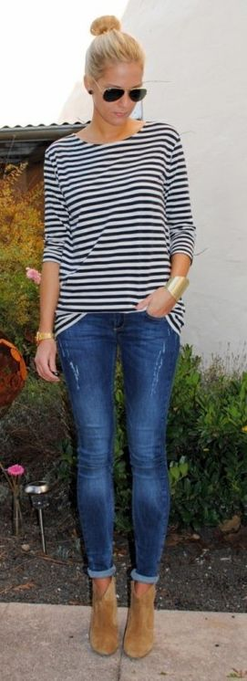 I love stripes, distressed skinny jeans. I love this whole look! #stitchfixinspiration #distressedskinnies #booties