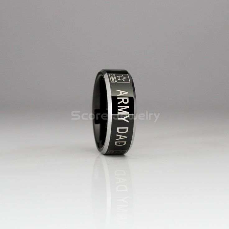 """8mm Tungsten Band with Beveled Edge US Army """"Army Dad"""" Laser Engraved - 8mm Tungsten Ring by ScoreCustomJewelry on Etsy"""
