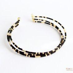Bracelet perles miyuki delica 11/0 doré gold filled et noir opack black - tendance minimaliste