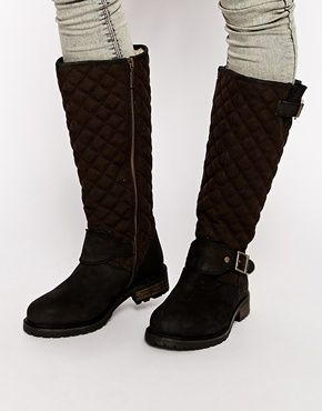 IN THE SALE NOW!! Barbour International Roost Quilted Knee High Biker Boots
