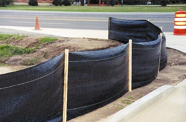 Silt Fence Filter Fabric Usually Fixed To Wood Stakes