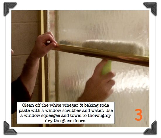 How to Clean Soap Scum Off Shower Doors-Clean off the paste with a window squeegee & water then thoroughly dry