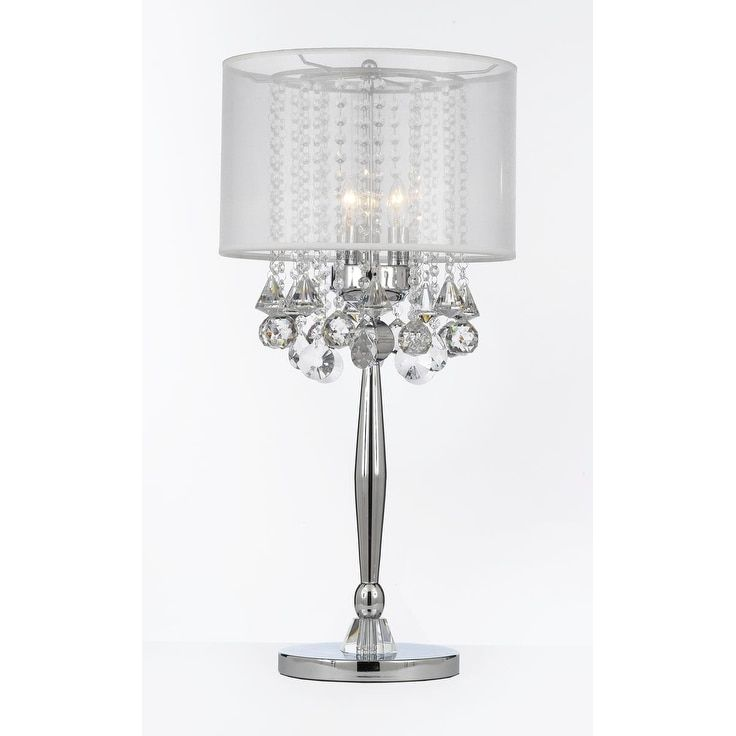 Silver Mist 3 Light Chrome Crystal Table Lamp with White Shade Contemporary Modern Living Room,For Bedroom