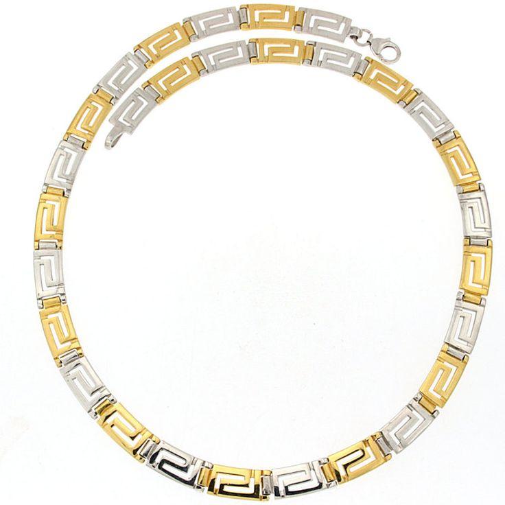 Meander greek key golden silver necklace Greek by ThetisTreasures