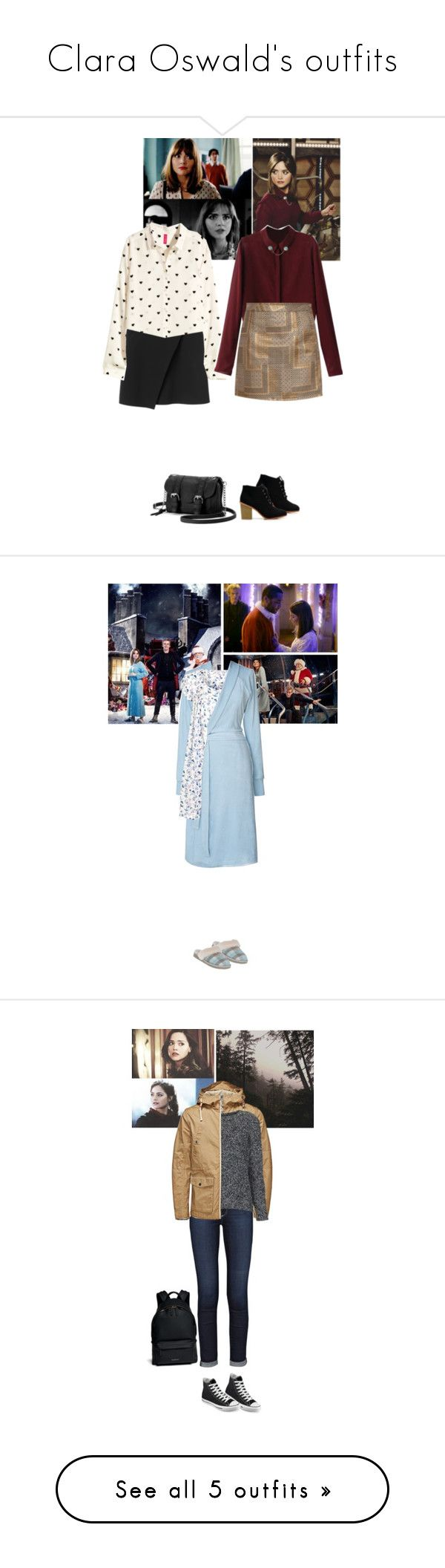 """Clara Oswald's outfits"" by serpensortis ❤ liked on Polyvore featuring Monki, H&M, KAGE, Candie's, UGG Australia, Nine Space, John Lewis, Leah Flores, AG Adriano Goldschmied and Topshop"